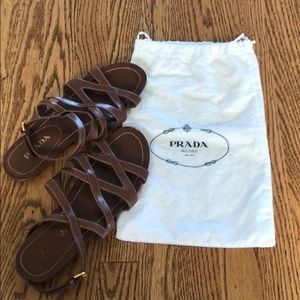 Prada leather gladiator sandal